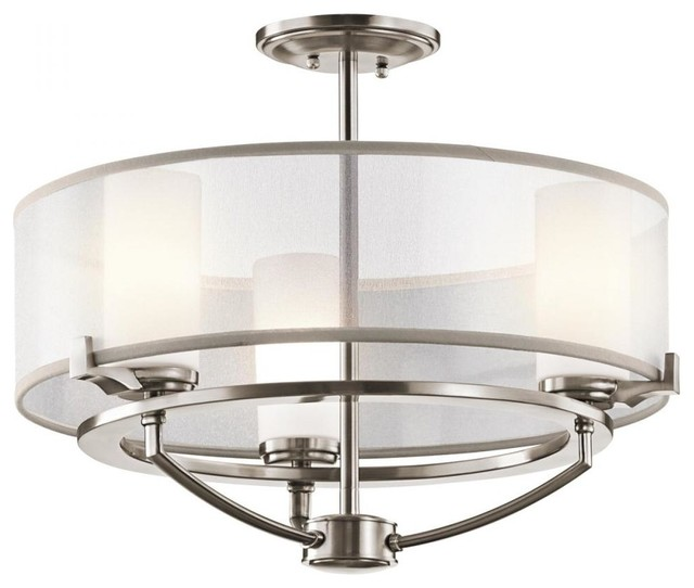 three light classic pewter drum shade semi flush mount. Black Bedroom Furniture Sets. Home Design Ideas