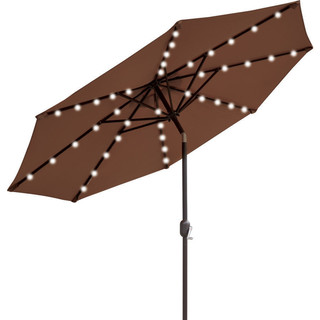 Solar Powder Lighting Market Umbrella, Brown