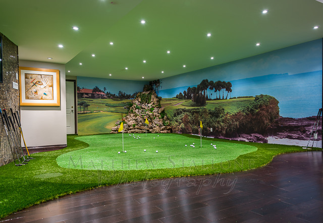 Golf Putting And Simulator Home Basement Traditional