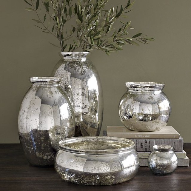 Mercury glass vases contemporary by west elm