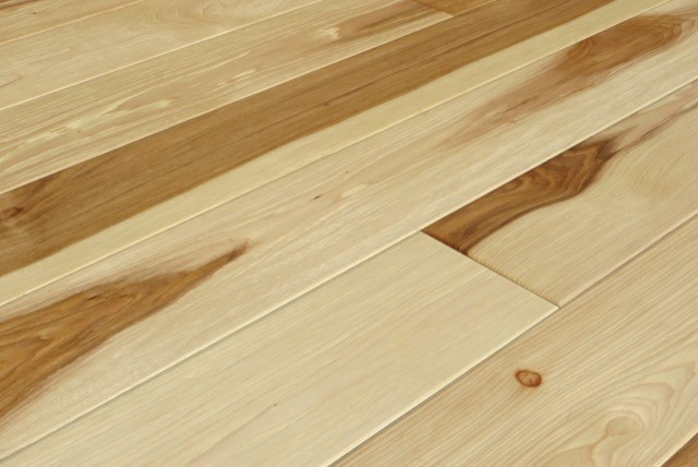 Hickory uv oiled natural hand scraped solid engineered for Floating engineered wood flooring