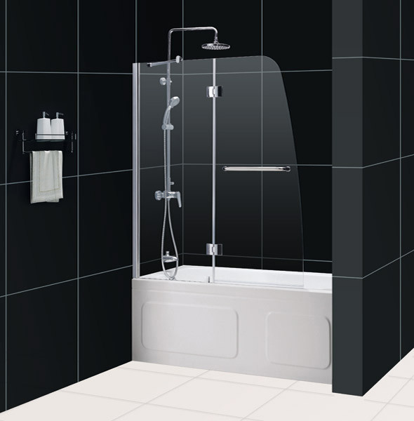 Clear Glass Hinged Shower Door : Dreamline shdr aqua in frameless hinged tub