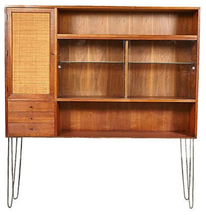 1960s Vintage Rattan Front Hutch W Hairpin Legs Front Doors