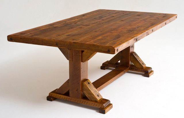 Reclaimed wood trestle dining table rustic dining Rustic wood dining table