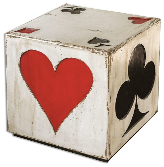 Playing Card Accent Cube Table Traditional Side Tables