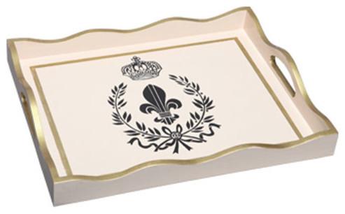 Black fleur de lis wooden tray with handle modern serving trays by bellacor - Fleur de lis serving tray ...