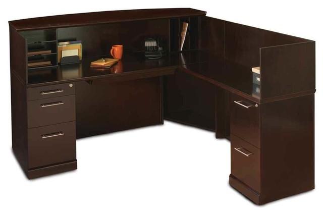 Reception Desk With Return In Espresso Finish