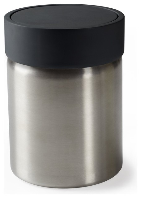 Umbra Ensa Black Plastic And Stainless Steel Waste Can