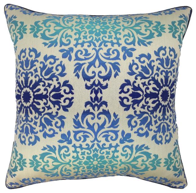 Blue Medallion Throw Pillows : Blue Medallion Floral Decorative Pillow - Contemporary - Decorative Pillows - by D & S Studio