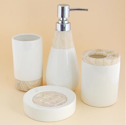 Wood grain pattern ceramic bath accessory set modern for Ceramic bathroom accessories sets