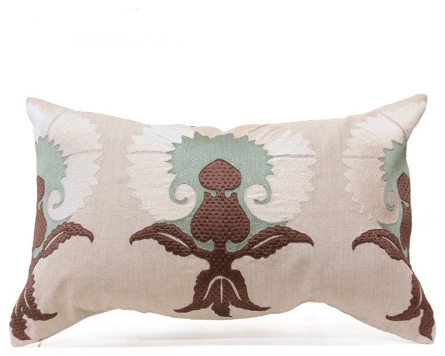 Eclectic Mix Of Pillows : Gwen Pillow - Taupe/Ice/Vanilla - Eclectic - Decorative Pillows - by Bliss Home and Design