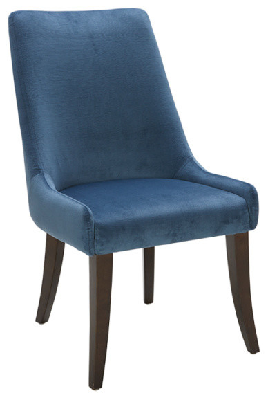 Beautifully Sculpted Blue Fabric Dining Chair