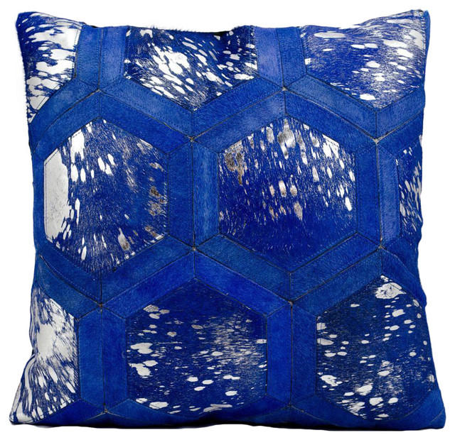 Silver Blue Decorative Pillows : Michael Amini by Nourison Blue / Silver Throw Pillow (20-inches Square) - Contemporary ...