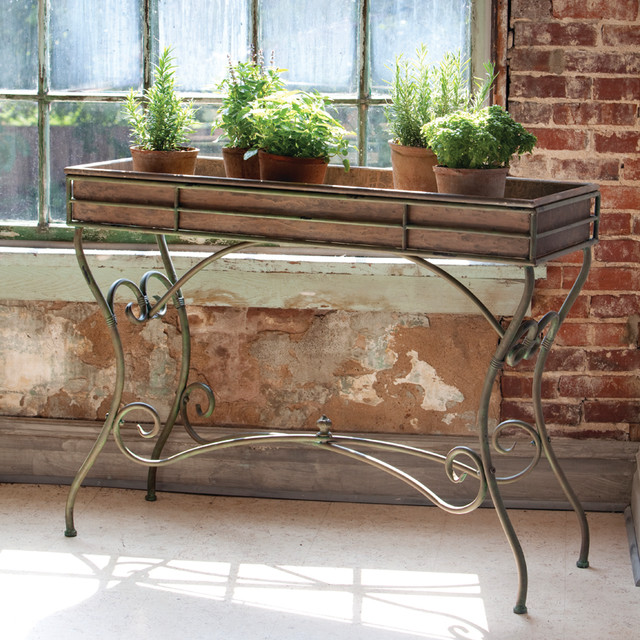 photos  Potting Console Table eclectic outdoor pots and planters atlanta