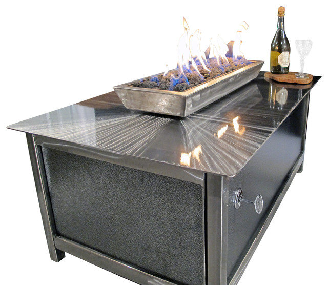 Impact steel fire table with modern industrial design for Concreteworks fire table