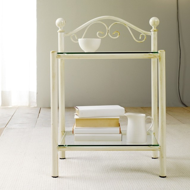 39 lina 39 vintage metal frame bedside table with glass top by for Metal night stands bedroom