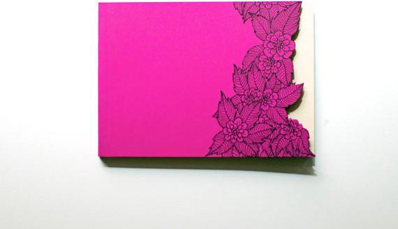 Handmade Flower Cut Pink Notebook By Serena Olivieri