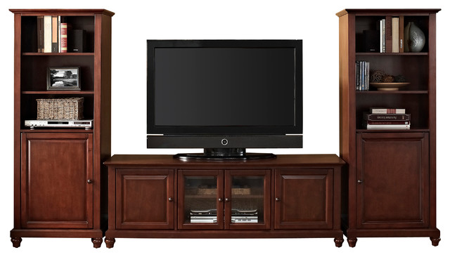 "Cambridge 60"" Low Profile TV Stand and Two 60"" Audio Piers in Vintage ..."