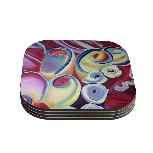 Cathy rodgers groovy rainbow flowers coasters set of 4 for Best coasters for sweaty drinks