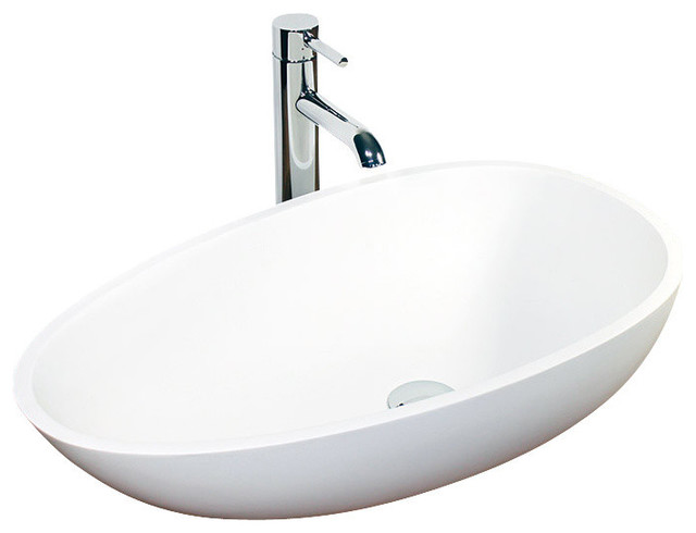 Resin Bathroom Sinks : ... Stone Resin Countertop Sink, White Glossy contemporary-bathroom-sinks