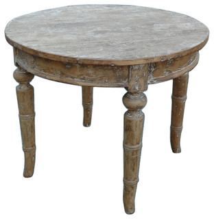 Consigned chinese vintage round rustic wash off pedestal for Traditional dining table uk