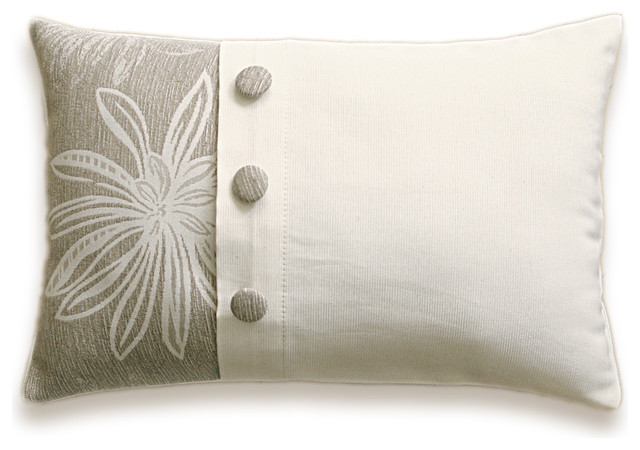 Cream Beige Floral Decorative Lumbar Pillow Cover 12x18 in Fabric Button LAYLA D