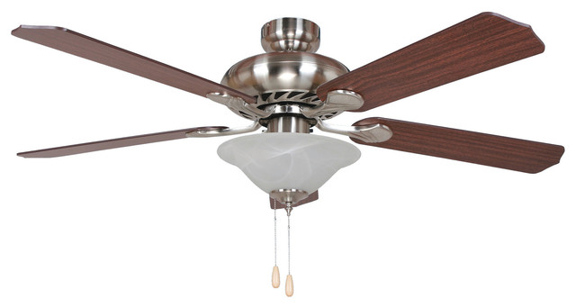 52 Inch Ceiling Fan with 72 inch Lead Wire Bright Brushed