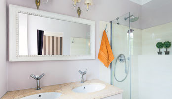 Custom size mirror with decorative white frame for Custom size mirrors bathrooms