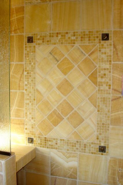 Master bathroom onyx tiled shower for Onyx bathroom design