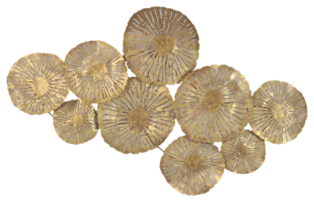 Small Circles Wall Decor Gold Transitional Metal Wall