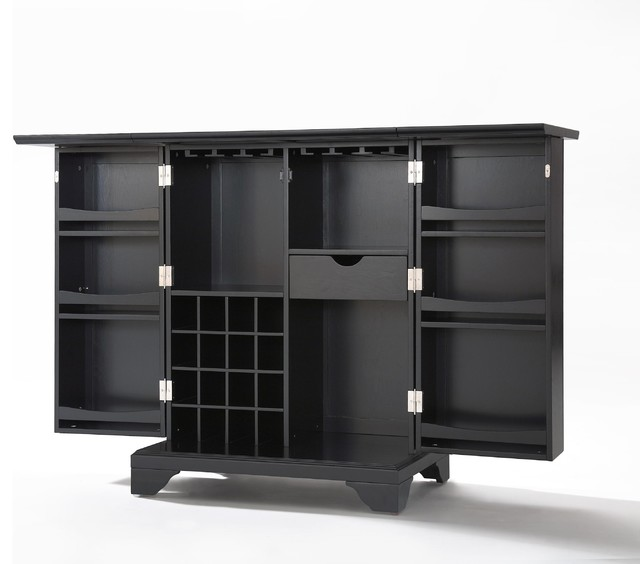 LaFayette Expandable Bar Cabinet, Black Finish - Wine And Bar Cabinets - by Crosley