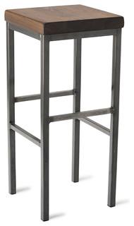 square metal stool walnut 30 h landhausstil. Black Bedroom Furniture Sets. Home Design Ideas