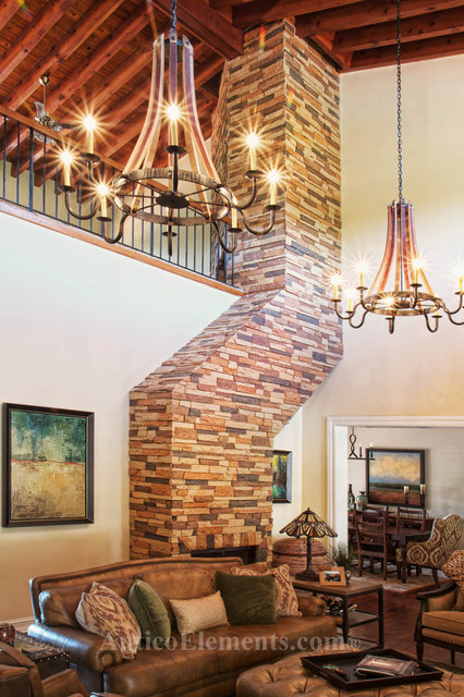 Fireplace Project With Faux Rock Panels Contemporary Indoor Fireplaces Miami By Antico