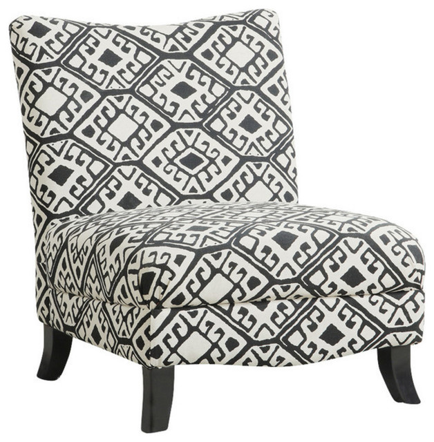 """Traditional Style Black Beige """"Abstract"""" Fabric Chair Home"""