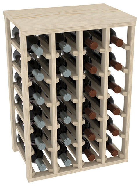 "24 Bottle Table Wine Rack, 12"" Deep, Unfinished Pine - Wine Racks - by Vino Grotto Modern Wine ..."