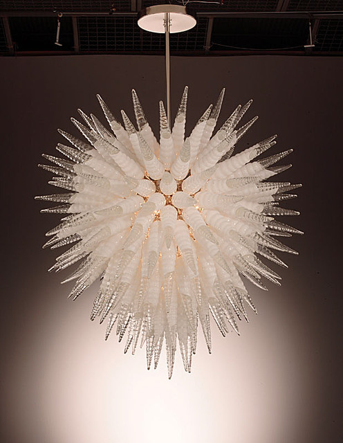 Murano Glass Nautilus Chandelier White Clear Modern