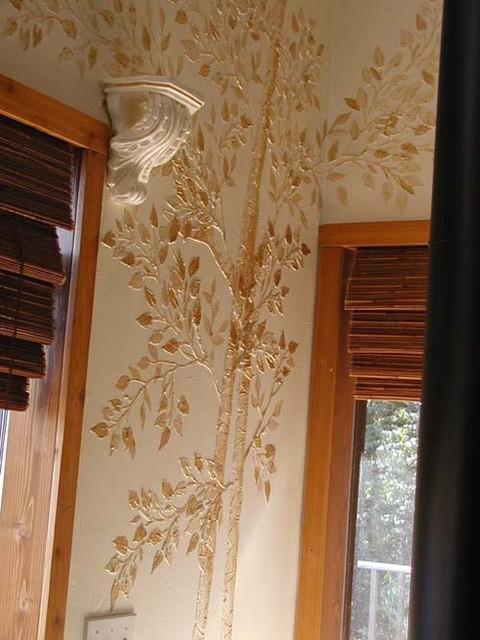 Raised Plaster Life Sized Aspen Tree Wall Stencil Modern
