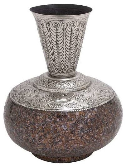 Decorative Metal Glass Decanter Vase with Mosaic Tile Design (Large) - Transitional - Vases - by ...