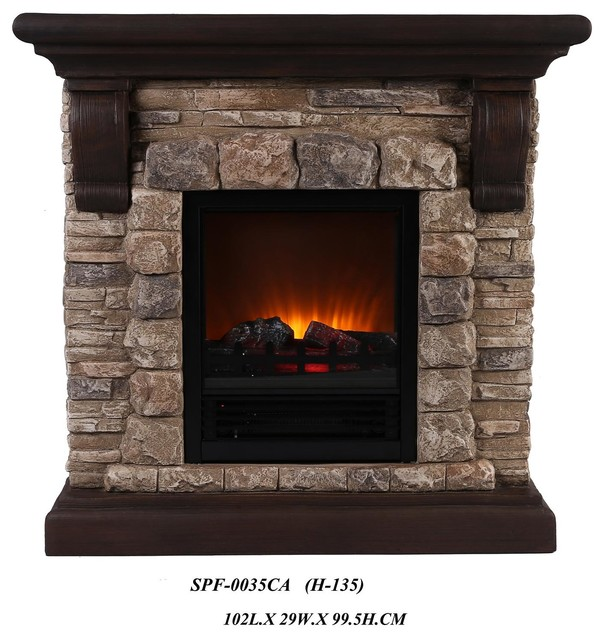 Dark Faux Stone Portable Fireplace Large Traditional Indoor Fireplaces