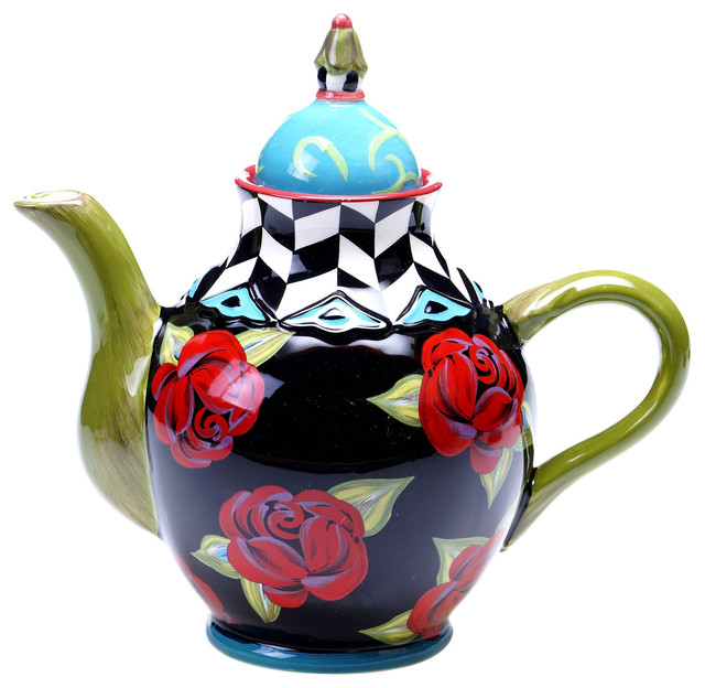 Hand Painted Classic Rose 40 Ounce Ceramic Teapot