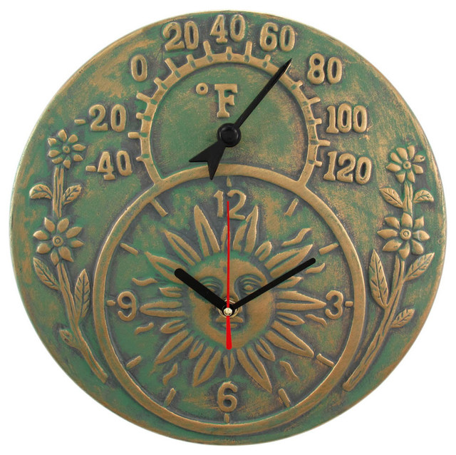 Verdigris Finish Terracotta Sun Face Clock Thermometer