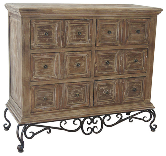 Madison Metal Base And Wood 3 Drawer Chest - Traditional ...