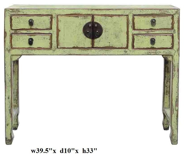 Rustic yellow green narrow slim side table eclectic side for Slim side table