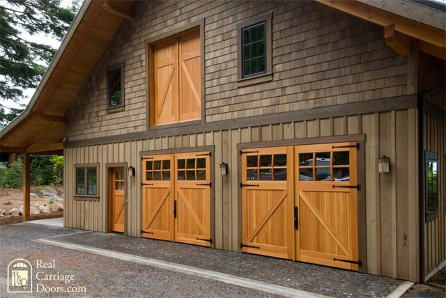 Classic Z Brace Carriage Doors With Side Entry Loft Door
