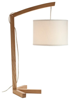 modern wooden table lamps with beige fabric lantern shade large contemporar. Black Bedroom Furniture Sets. Home Design Ideas