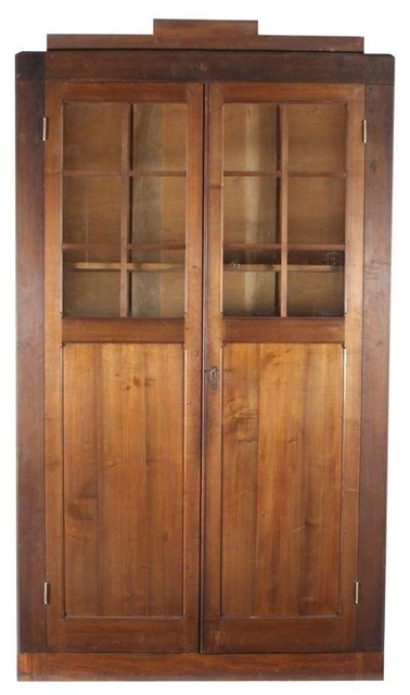 French Farmhouse Glass Front Cabinet - Modern - Storage Cabinets - by Chairish