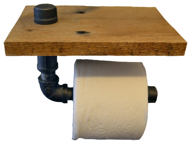 Reclaimed Wood And Pipe Toilet Paper Holder Raw