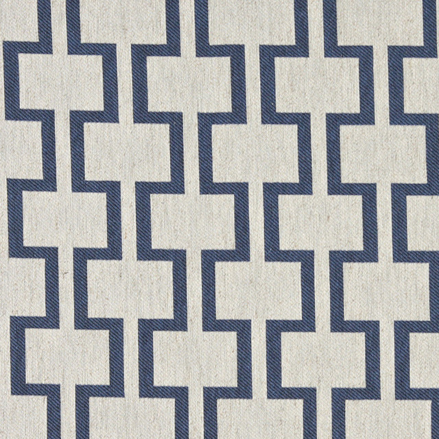 Blue and Off White Contemporary Geometric Is Upholstery