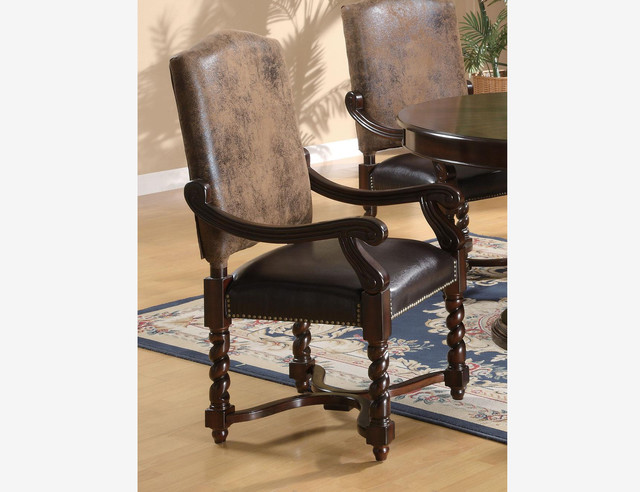 2 traditional cappuccino wood dining arm chairs leather for Wood dining chairs with leather seats