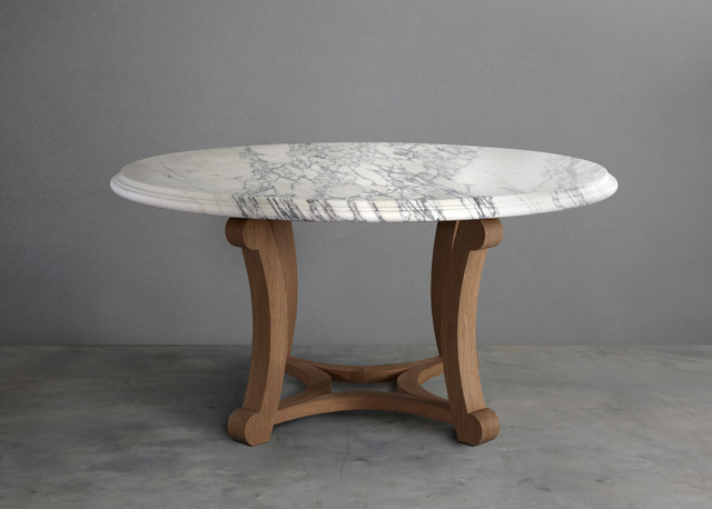 Arabescato Marble and English Oak Round Refectory Dining  : contemporary dining tables from www.houzz.com.au size 640 x 458 jpeg 43kB